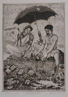Woodcut by Haren Das - Happy pairs.
