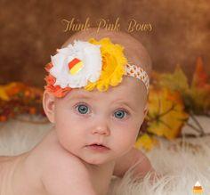 Halloween baby headband, baby headband,fall headband, baby girl headband in orange yellow and white,baby bows on Etsy, $7.95