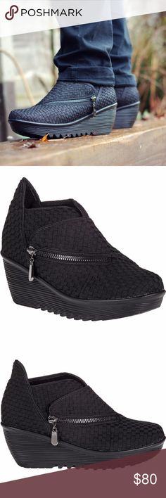 Bernie Mev Zigzag Wedge Zip Bootie Black Bernie Mev Zigzag Wedge Zip Bootie Black Met Size US 10 EU 40  These zigzag ankle boots from Bernie Mev are perfect for adding height without compromising on comfort. Crafted with a woven mesh upper, this black pair is finished with a front zip fastening and wedge heel. Team with skirts or distressed denim for everyday style to covet.  Measurements: Heel Height: 2 in Weight: 9 oz Platform Height: 3⁄4 in  Brand new without box. bernie mev. Shoes Ankle…