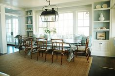 lantern and bench in the dining room. Morrison Fairfax Interiors