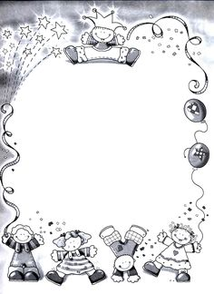 bordes_escolares03 Más Borders For Paper, Borders And Frames, Free Adult Coloring Pages, Colouring Pages, Hand Drawn Border, Graduation Cards Handmade, Kindergarten Portfolio, Artsy Background, Quiet Book Templates