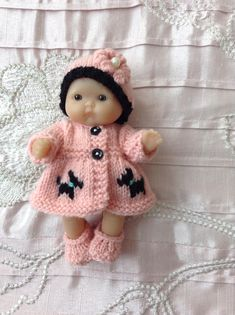 "Hand knitted dolls clothes to fit 5"" Berenguer baby doll/Itty Bitty baby doll/Cupcake doll"