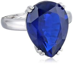 CZ by Kenneth Jay Lane ;Special Occasion www.teelieturner.com Blue Pear CZ Glamorous Adjustable Ring, Size 5-7, 15 CTTW $139.00 #sparkle