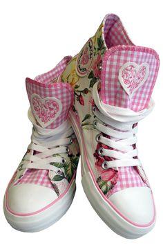 Trachten-Sneaker für Damen, creme-rosa-grün, Krüger   Dirndltopia