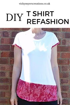 This is a super quick and easy way to refashion your old t shirt, add a splash of color with this step by step sewing tutorial #sewing #refashion
