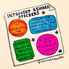 Introvert reward stickers - some days I need these lol Introvert Personality, Introvert Quotes, Introvert Problems, Infj Infp, Isfj, Mbti, Introvert Funny, Reward Stickers, Frases