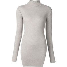 Helmut Lang Ribbed Roll Neck Sweater ($337) ❤ liked on Polyvore featuring tops, sweaters, grey, grey top, roll-neck sweaters, grey sweater, gray sweater and helmut lang sweaters