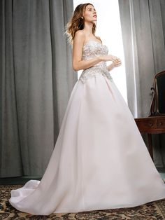 Kenneth Winston Style 1713 | wedding gown with beaded bodice, organza skirt, and hidden pockets | luxurious bridal gown