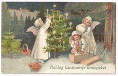 Vintage New Years or Christmas Postcard Very Merry Christmas, Christmas Angels, Christmas And New Year, Auld Lang Syne, Vintage Christmas Cards, Vintage Holiday, Vintage Halloween, Vintage Art, Illustration