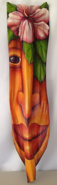 Tropical Rose  acrylic on palm frond                      by Anna Skaradzinska