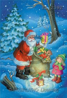 Interlitho, Nino, CHRISTMAS SANTA, SNOWMAN, paintings, santa, bag, girl(KL2392,#X#) Weihnachtsmänner, Schneemänner, Weihnachen, Papá Noel, muñecos de nieve, Navidad, illustrations, pinturas