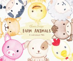 Farm Animal Illustration Watercolor Baby Dog Cat Sheep Horse Pig Chicken Duck Cow Cute Nursery Wall Decor Clipart Digital Drawing Scrapbook by CharisDesignss on Etsy
