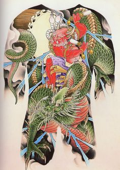 - Dragon and Raijin Tattoos Anime, Tattoos Skull, Body Art Tattoos, Frog Tattoos, Japanese Demon Tattoo, Japanese Dragon Tattoos, Mask Japanese, Japanese Art, Yakuza Tattoo
