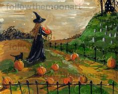 Harvest Witch Pumpkin Patch Black Cat Graves Haunted House Halloween Art Print