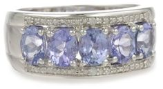 Sterling Silver Tanzanite and Diamond Ring (0.03 cttw, GHI Color, I3 Clarity)