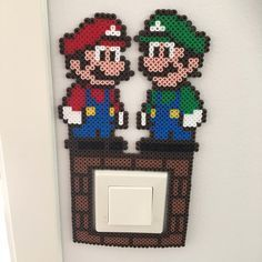 Mario and Luigi light switch frame nabbi beads by linda_jsson