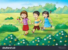 Illustration Children Playing Garden Stock Illustration 1596857692 In 2020 Watercolor Illustration Illustration Children Illustration