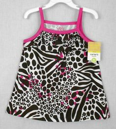 Carters Toddler Girl Tank Top Multi Color Size 4T Cotton Animal Print Everyday - This toddler girls animal print tank top features  A line styling and a three tier ruffle at the bodice top.