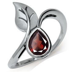 1ct. Natural Garnet 925 Sterling Silver Bypass Leaf Solitaire Ring
