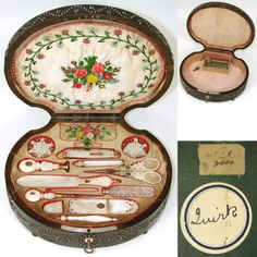 VR Antique French Palais Royal Sewing Box and Twelve Mother of Pearl Enamel Tools Sewing Tools, Sewing Hacks, Sewing Crafts, Sewing Kits, Sewing Ideas, Sewing Scissors, Vintage Sewing Notions, Antique Sewing Machines, Antique Boxes
