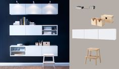 BESTÅ white wall cabinets with doors and GRUNDTAL stainless steel cabinet lighting - maybe stagger them instead of stack them?