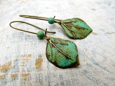 Leaf earrings patina small dangle earrings rustic earrings Boho jewelry.