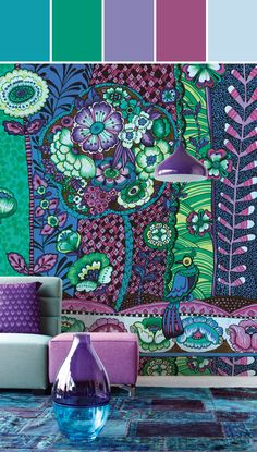 Paraiso Purple Kaleidoscopic Floral Designed By Brewster Home Fashions via Stylyze #colourpalettesilove