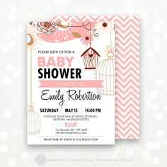 Girl Baby Shower Invitation Printable  Pink Сhevron by AmeliyCom, $12.00 INSTANT DOWNLOAD Printable Baby Girl Shower Invitation - Flyer Invate 5x7 Editable Invitation + Pink Сhevron Backsides  Just print, cut and ready to go!  DIY ♥ Printable ♥ Digital PDF for home printing