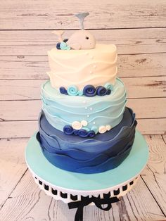 Nautical Whale Baby Shower Cake, by Amy Hart