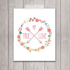 8x10 Floral Wreath, Printable Art, Love Sign, Wedding Printables, Inspirational Print, Nursery, Wall Art, Home Decor, INSTANT DOWNLOAD