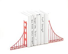 Metal Bookends // Golden Gate Bridge // Cool Home Decor Gift for A San Francisco Housewarming Party // Christmas gift // Free Shipping by DesignAtelierArticle on Etsy https://www.etsy.com/listing/201373630/metal-bookends-golden-gate-bridge-cool