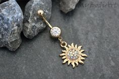 Sun-Belly Button Ring, Bauchnabel Ringe Sonne, Gold Bauchnabel Piercing Schmuck, baumeln Nabel Hoop, flammenden Sonne, Boho, Aurora Borealis Crystals
