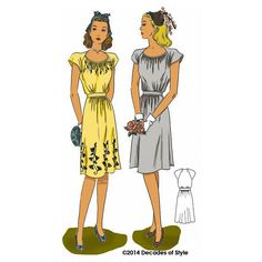 illustration for 1940s sewing pattern for a short sleeve dress from Decades of Style #4013 1940s Dorothy Lara Dress