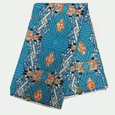 LSFM-37 Light Blue African Print Cotton Fabric Mitext-holland Wax with…