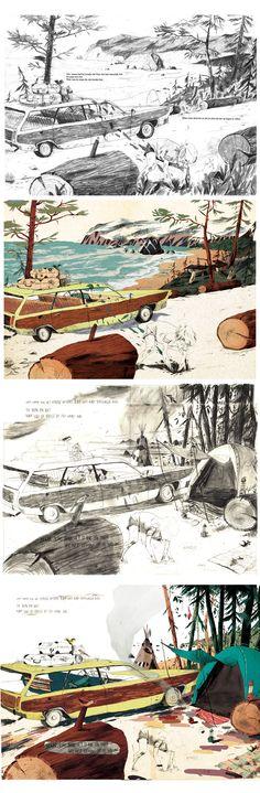 """Een impressie uit het prentenboek """"Het hondje dat Nino niet had"""" illustraties van Anton Van Hertbruggen. Prachtige zachte tekeningen voor een kinderboek! Over de fantasie van een kind en zijn verzonnen vriendje het hondje Nino."""