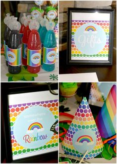 Rainbow Birthday Party - barrels for kids drinks