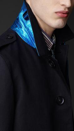Burberry Prorsum Metallic Undercollar Trench Coat in Black for Men | Lyst
