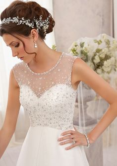 $800- morilee Wedding Gown  5208 Sparkling Allover Crystal Beading on Delicate Chiffon