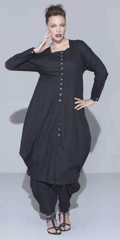 "Hebbeding Black ""Ball"" Cotton Long Tunic/Dress with Timor trousers"