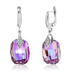 GemStoneKing 925 Sterling Silver Gorgeous Pink Crystal CZ Earrings Made With Swarovski Components 2016 Mom's Day Reward - Silver Jewellery 925 - SHOP NOW