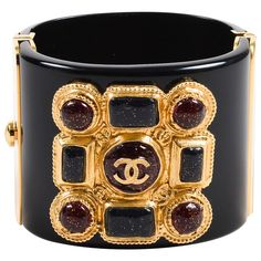 Chanel 11A Black Red Gold Tone Resin Gripoix Glitter Wide Bangle Cuff Bracelet