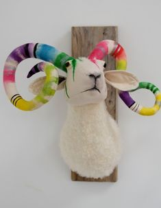 Rainbow Ram Faux Taxidermy by Characters by Julia - The Sideshow Gallery in Williamsburg, VA. Meet Edgar the Jackalope. Wall Art Sets, Framed Wall Art, Framed Art Prints, Canvas Wall Art, Rainbow Zebra, Cat Clock, Faux Taxidermy, Sideshow, Modern Wall Art