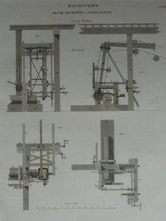 Original 1820 Machinery Matted Print - Machine - Mechanical Diagram - Pulley…