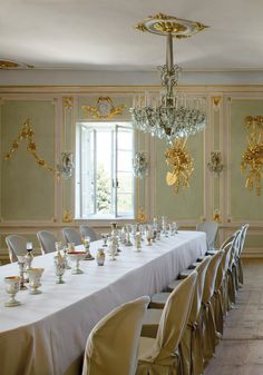 Thaddaeus Ropac's Baroque 17th-century Austrian manor dining room , photo by Miguel Flores-Vianna