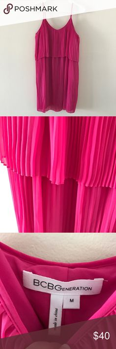 BCBGeneration • Hot Pink Pleated Dress BCBGeneration • Pleated, hot pink dress in GREAT condition. Only worn once. Was originally $158 dress.   ❄️ No trades. Offers encouraged. Discounts on bundles of items. ❄️ BCBGeneration Dresses