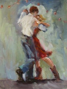 Two-stepping the night away... original painting by artist Connie Chadwell