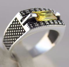 Turkish Ottoman Jewelry Handmade 925 Sterling Silver Citrine Statement Men Ring #Handmade #Statement