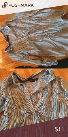 Black white striped 3/4 sleeve Black and white striped shirt. 1/4 button down with tie in the the middle. Miley Cyrus Shirts & Tops Blouses