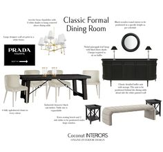E-Design Board - Classic Formal Dinign Room Dining Bench, Dining Room, Timber Table, Brass Chandelier, Table Sizes, Black Linen, Extra Seating, Wall Art Designs, Upholstered Chairs