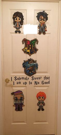 Hogwarts Themed Bedroom Door w Perler Creations